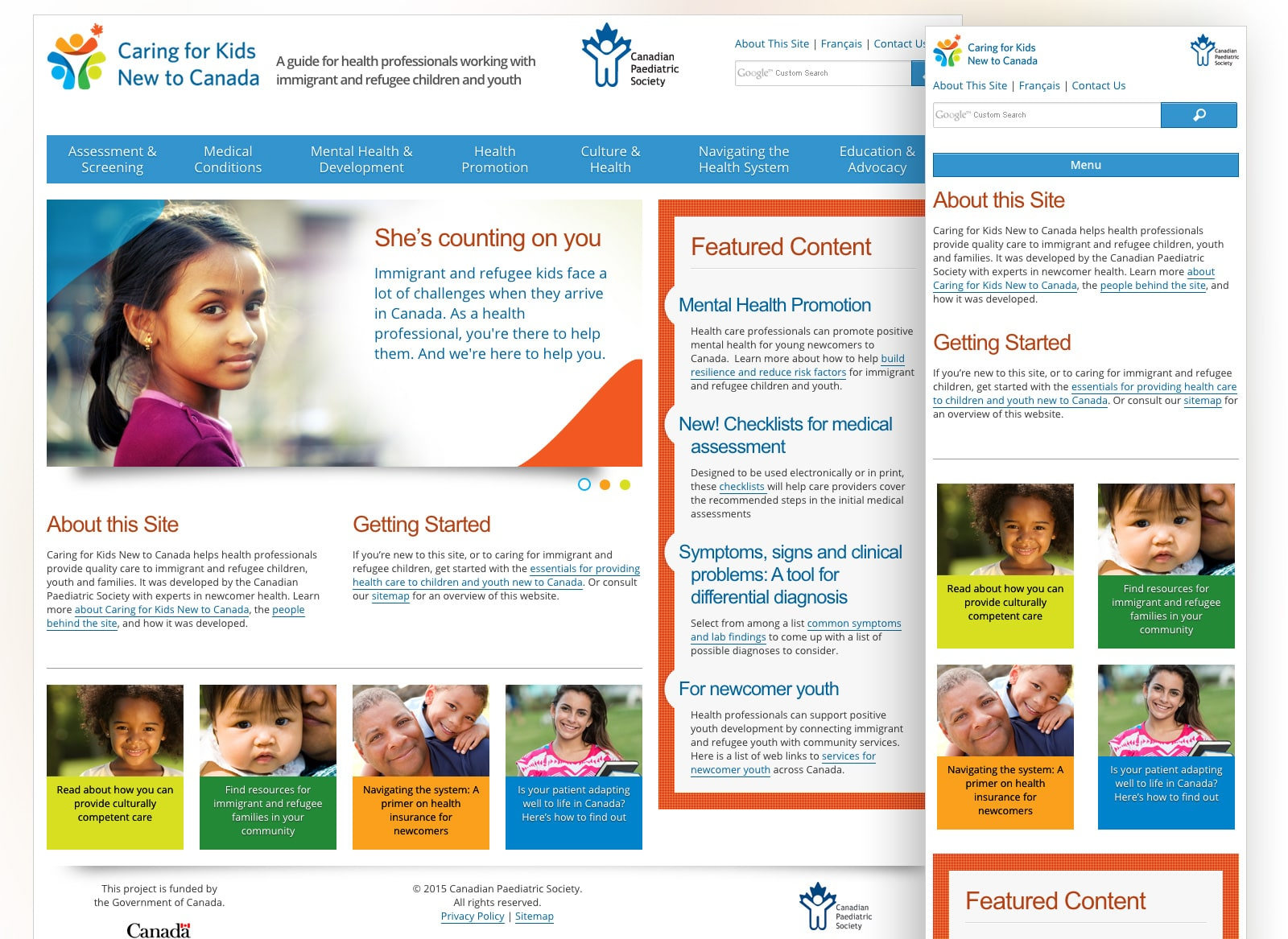 Screenshots of Caring for Kids New to Canada